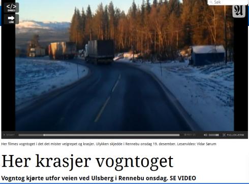 Tre lastbilar i nedförsbacke filmade från den fjärde bakom dem - strax innan möte. Observera bromsljusen.
