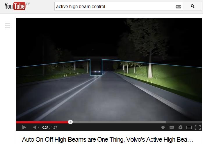Skärmdump från och länk till video som demonstrerar Volvos aktiva helljus generation 2.