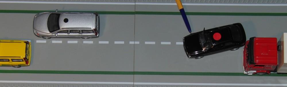 Rekonstruktion av steg 1 i sidokrock på E4 vid A6 i Jönköping 2014-06-12.