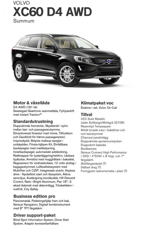 """Specifikation av Volvo XC60 D4 AWD Business Edition Pro modellår 2015. Levereras september 2014 till Lennart Strandberg (www.stop.se) för praktisk demonstration av modern säkerhetsutrustning med möjlighet för de åkande känna på G-krafter vid hård bromsning eller kurvkörning. Skärmdump från """"Bygg din Volvo"""""""