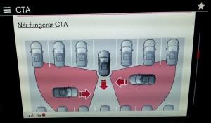 CTA-bild i bilens digitala ägarmanual. Foto från Labb-Volvons centrala bildskärm.